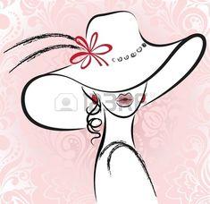 retrato de la hermosa mujer en un sombrero con una flor Foto de archivo