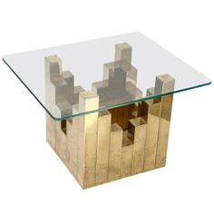 Paul Evans Style Brass & Glass Table | From a unique collection of antique and modern side tables at http://www.1stdibs.com/tables/side-tables/