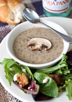 mushroom brie bisque from Tide and Thyme. I've had a similar soup in flight a couple of times and it got me thinking about a new soup for Thanksgiving dinner. May want to try something like this with CSA mushrooms and maybe herbed croutons of some sort for a topping. sounds good don't you think?