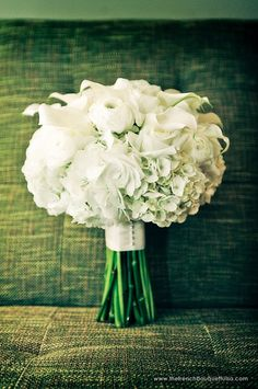 White Bridal Bouquet with Hydrangea, Ranunculus, Calla Lilies, and Roses - The French Bouquet - Miles Witt Boyer Photography Hydrangea Bridal Bouquet, Calla Lily Bouquet, Ribbon Bouquet, Peonies Bouquet, Bride Bouquets, Flower Bouquet Wedding, Bridesmaid Bouquet, Floral Wedding, Calla Lilies