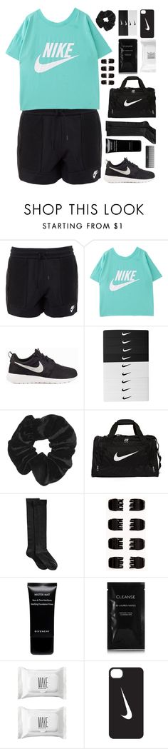 """""""//Teal Nike//"""" by the-midnight-garden ❤ liked on Polyvore featuring NIKE, Topshop, Hue, Forever 21, Givenchy, Sephora Collection, Cleanse by Lauren Napier and Make"""