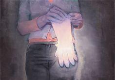 attila szucs, illuminated gloves, oil on canvas, 50x70cm. 2013