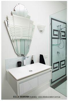 Greek key shower