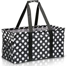 Amazon.com: Extra Large Utility Tote Bag - Oversized Collapsible Reusable Wire Frame Rectangular Canvas Basket With Two Exterior Pockets For Beach, Pool, Laundry, Car Trunk, Storage - White Polka Dot: Shoes Teacher Tote, Work Tote, Cute Mini Backpacks, School Tote, Large Utility Tote, Baby Girl Toys, Beach Canvas, Monogram Tote, Travel Tote
