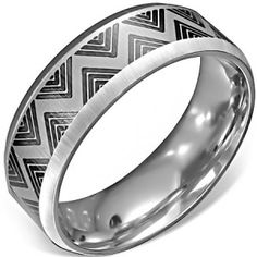 Men's 8mm Silver Finish Stainless Steel Modern Black Pattern Ring men's jewellery #mensfashion #mensjewellery