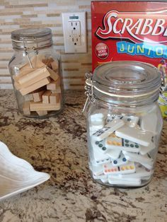 Put your dominoes & Jenga pieces in canisters for game room decor & of course to actually use. Looks cuter than a box. Put your dominoes & Jenga pieces in canisters for game room decor & of course to actually use. Looks cuter than a box. Jenga, Garage Game Rooms, Game Room Basement, Basement Ideas, Gameroom Ideas, Basement Designs, Garage Ideas, Game Storage, Game Room Decor