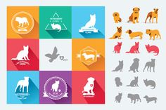 Set dog and cats icons by Barcelona Design Shop on Creative Market