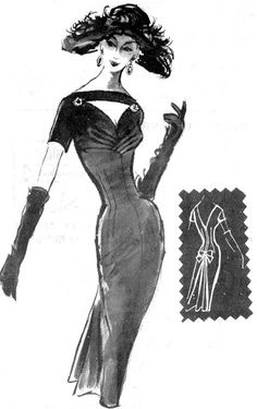 Construction | MODES ROYALE 1467 | 1955 | Sweet-heart neck dress with pleated bust