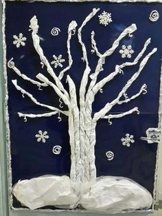 Winter scene with snow. Winter Art Projects, Winter Project, Winter Crafts For Kids, Art Activities For Kids, Winter Activities, Art For Kids, Preschool Christmas Crafts, Art Lessons Elementary, Winter Christmas