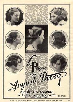 1920s advertisement for Auguste Bonaz combs, showing how longer hair was worn in the mid 1920s
