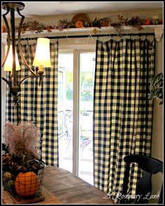 @Carol Higgins Dyer Maybe not plaid but same idea?  Over the double window shelf--could really dress up the big sliding glass door...