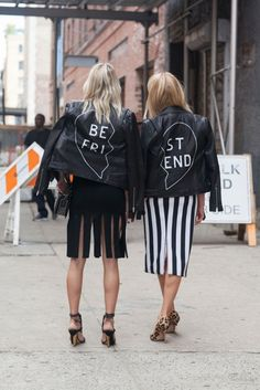Matching customized leather jackets are paired with skirts and statement shoes