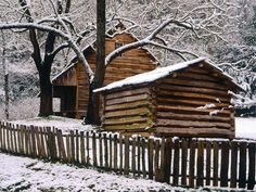 Tipton Cabin in Winter - Great Smoky Mountains National Park, TN