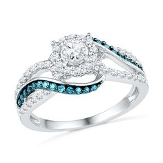 Diamond Engagement Ring With Blue Diamond Accents.
