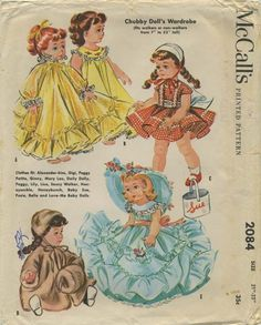 "Vintage Doll Clothes Sewing Pattern | Clothes fit: Alexander-kins, Gigi, Peggy Petite, Ginny, Mary Lou, Daily Dolly, Peggy, Lily, Lisa, Saucy Walker, Honeysuckle, Honeybunch, Baby Sue, Posie, Belle and Love-Me Baby Dolls. | McCall's 2084 | Year 1956 | Size 21""-23"""