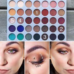 Smokey eyelook @morphebrushes X @jaclynhill Eyeshadow Palette 1. Pukey- transition shade and lower lash 2. Mocha- crease and lower lash…
