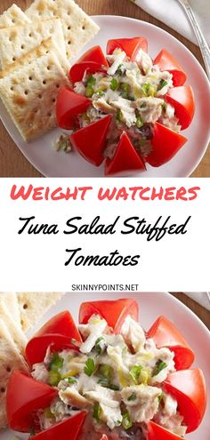 Tuna Salad Stuffed Tomatoes - #weightwatchers #weight_watchers #Healthy #Salad #Tuna #skinny_food #Stuffed #recipes #smartpoints #Tomatoes
