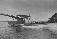 German flying boat Dornier Do.18D after landing on water