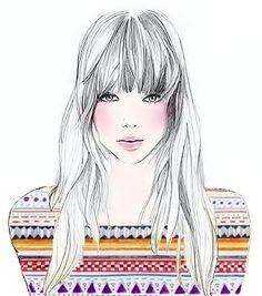 illustration, art, paint, draw, drawings, lovely, pretty, colorfull, indisch, hair, model