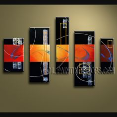 Amazing Modern Abstract Painting Hand Painted Oil Painting Stretched Ready To Hang Abstract. This 5 panels canvas wall art is hand painted by V.Chua, instock - $165. To see more, visit OilPaintingShops.com