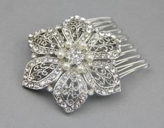 Flower  Hair Comb, Vintage Wedding Hair Comb, Silver  Bridal Wedding Hair Comb, Bridal Wedding Hair Accessories- Style 264