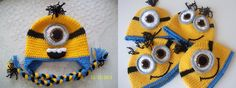 Minion Hats Earflap minion hat-Crochet Minion by myknittingworld