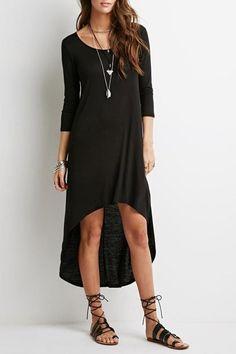 3/4 Sleeve High Low Hem Dress