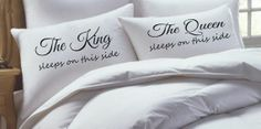 King and Queen Pillowcase Set his hers pillowcase by RKGracePrints,