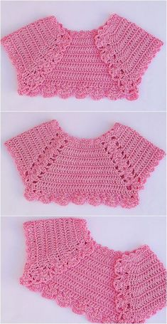 Tutorial de hermosos boleros tejidos a ganchillo para niña!!! - CURSOS GRATUITOS Baby Girl Crochet, Crochet Baby Clothes, Crochet For Kids, Knit Crochet, Crochet Designs, Crochet Patterns, Crochet Ideas, Loom Patterns, Bolero Pattern