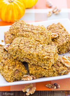 FOR FODMAP SUB RIPE MASHED BANANA FOR THE APPLESAUCE. Pumpkin Protein Oat Bars -- Healthy gluten free bars with a vegan option. Breakfast on the go or a snack, these bars are so good and moist, you would never guess they are good for you.