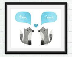 FOX Couple cadeau de mariage Unique Art mural personnalisé pour jeunes mariés Gray Cyan Sky Blue Home Decor amour Art - imprimable ou Art Print - 8 x 10