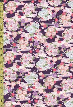 Japanese - Hokkoh - Floral Clusters & River Swirls -1021-110-3C - Purple - 2 1/2 yards