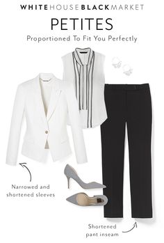 Black & White is in our DNA, and we continue to bring this classic and always chic color duo to our Petites Collection. Proportioned to fit you perfectly, our versatile collection embodies your lifestyle.  From sophisticated blouses to work-ready pants–from office to after-work drinks–these essential pieces are proportioned in just your size, so getting ready in the morning is the easiest part of your day. | White House | Black Market