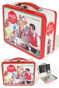 Coca Cola Tin Lunch Box : Coke for Hospitality 1948 Slogan : Hot Dog Roast Lunch Box Thermos, Tin Lunch Boxes, Vintage Lunch Boxes, Lunch Containers, Metal Lunch Box, Coke, Pepsi, Coca Cola Poster, Coca Cola Santa