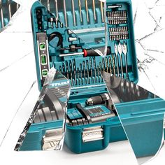 Makita Combi Drill x Battery) with 101 Piece Accessory Set Makita Power Tools, Fathers Day Gifts, Drill, Compact, How To Remove, Things To Come, Delivery, Metal, Sleeve