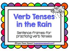 Speechie Freebies: Verb Tenses in the Rain. Pinned by SOS Inc. Resources. Follow all our boards at pinterest.com/sostherapy/ for therapy resources.