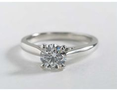 Tapered Cathedral Engagement Ring in 18k White Gold | Blue Nile