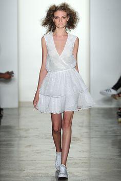 Look #25: CLOUD sleeveless white crochet lace cross front short tiered dress
