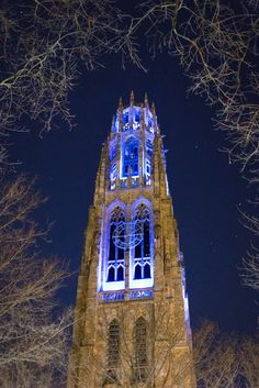 Harkness Tower glowing bright blue in honor of World Autism Awareness Month. (Photo: Jiahe Gu '16)
