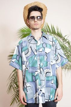 9bc995a2c5 Short sleeve shirt•Hipster shirt•90s shirt•Mens vintage clothing•Abstract  print shirt•Mens button up shirt•Collar shirt•Vintage hippie shirt