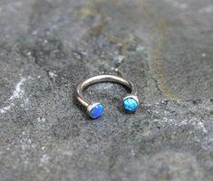 Blue Opal Fire Hoop Lip by Purityjewel on Etsy Face Piercings, Smiley Piercing, Cartilage Ring, Tragus, Septum, Rook Earring, Nipple Rings, Blue Opal, Body Jewelry