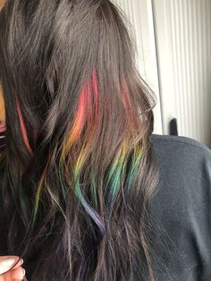 Rainbow peekaboo highlights using Pulp Riot hair color # rainbow Hair Rainbow Peekaboo Hair Color Streaks, Hair Color Dark, Cool Hair Color, Hair Color For Kids, Rainbow Hair Highlights, Rainbow Hair Colors, Color Highlights, Red Peekaboo Highlights, Hair Color Placement