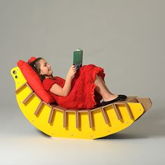 Bonita - Fruit-juice Collection - corrugated cardboard chaise longue for kids room - Eco And You #madeinitaly #banana