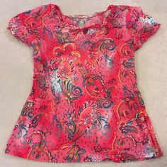 Med Couture Scrub Top Xs Womens Lightweight Pink Prints Paisley Floral Nurse #MedCouture Med Couture Scrubs, Stylish Scrubs, Pink Prints, Scrub Tops, Floral Tops, Paisley, Women, Fashion, Moda