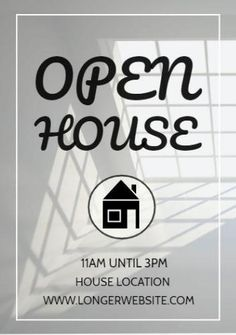 A grey background image of a room inside a house with written text displaying open house 11 am until 3 pm. An illustration of a house location and website.