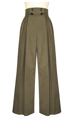 Look hip in these pleated wide-leg retro inspired pants! These high waisted pants have four buttons on the front that function for the opening, with convenient Fashion Pants, Look Fashion, Hijab Fashion, Fashion Dresses, Fashion Design, Plus Size Vintage, Vintage Mode, Vintage Style, Retro Style