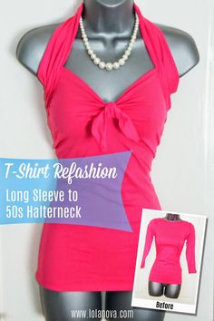 Tutorial - How to Create Refashion a Long Sleeve T-shirt into a Halter Top - crafts for girls, Halter Top, Handmade Art, Long Sleeve, T-shirt. Click on the image for the tutorial.