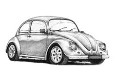 Front 3/4 view, line drawing of an aircooled Beetle