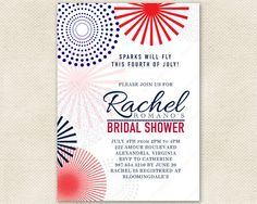 Fourth Of July Bridal Shower Invitation With Mod Fireworks. Patriotic Red  White And Blue For
