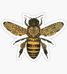 5b1b4ae1 aureum bee Sticker Mosaic Tattoo, Henna Pictures, Honey Bee Tattoo, Bumble  Bee Tattoo